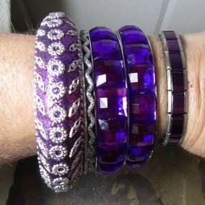 1608 Set of 5 purple bracelets bangles